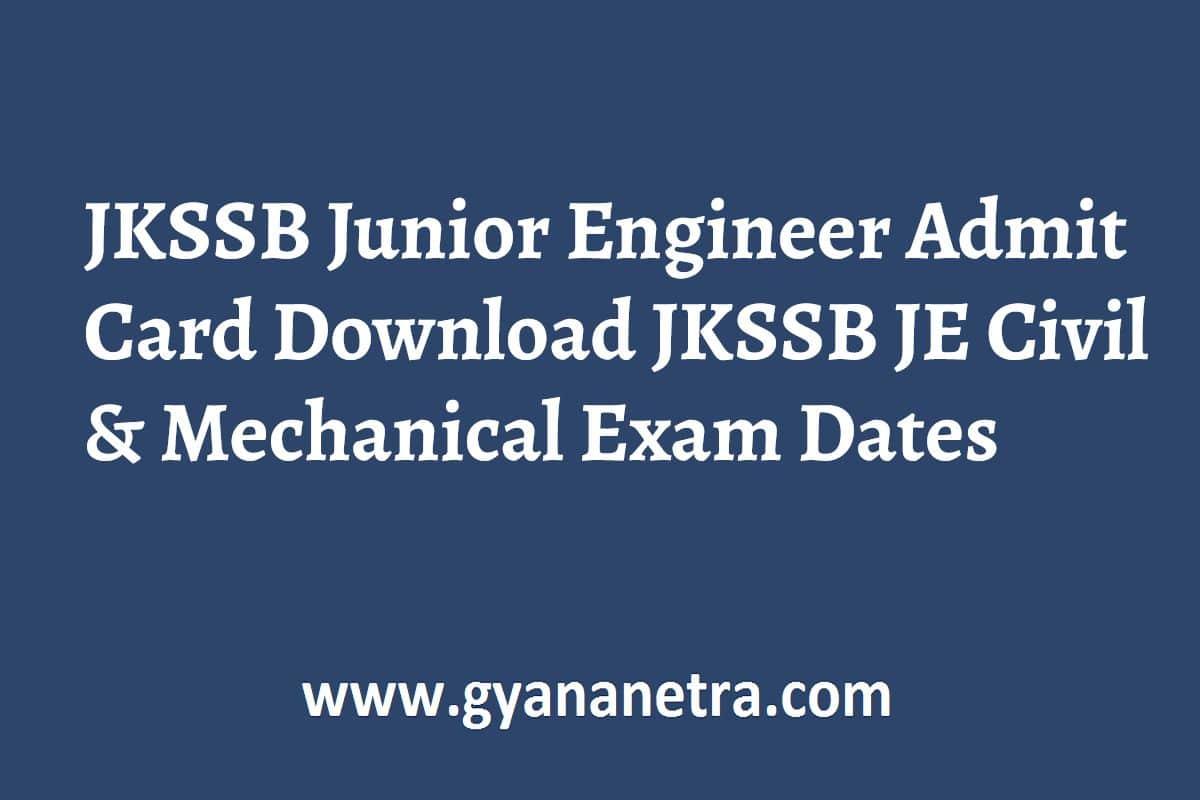 JKSSB Junior Engineer Admit Card Exam Date