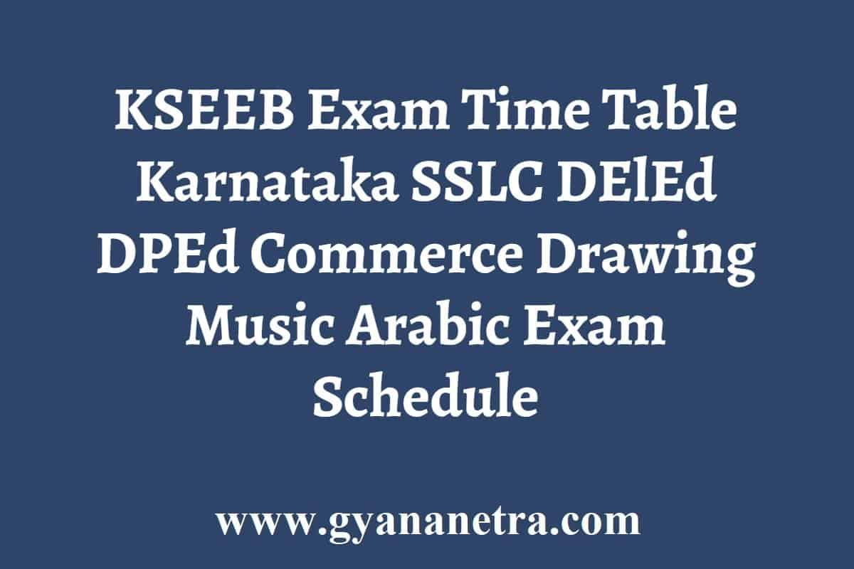 KSEEB Exam Time Table