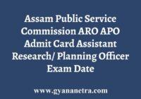 APSC ARO APO Admit Card