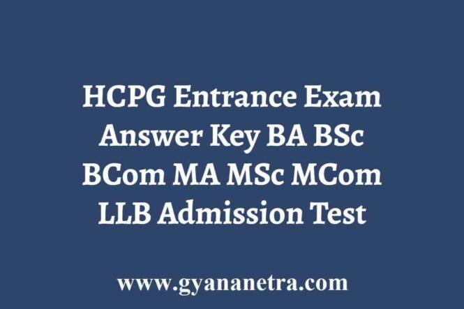 HCPG Entrance Exam Answer Key