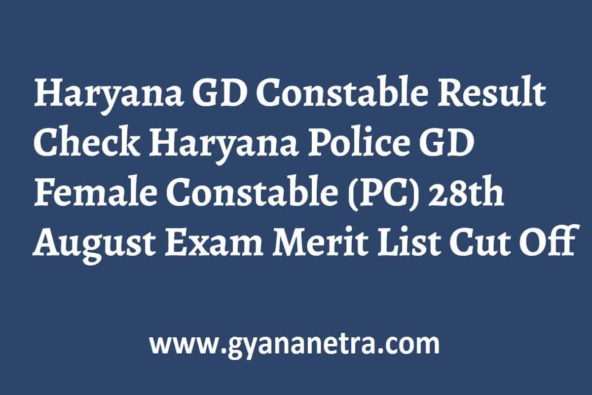 Haryana GD Constable Result Merit List