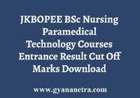 JKBOPEE BSc Nursing Paramedical Entrance Result