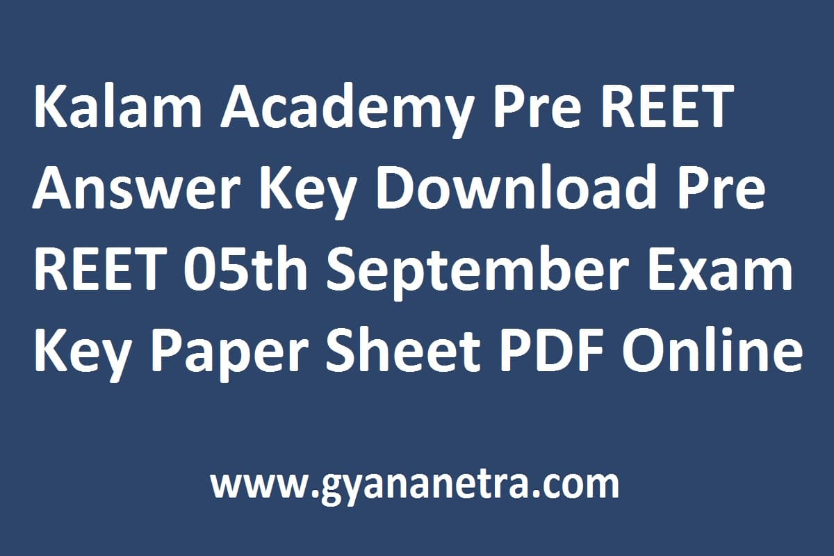 Kalam Academy Pre REET Answer Key Paper