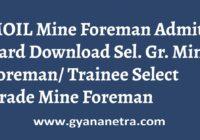 MOIL Admit Card Mine Foreman Exam Date