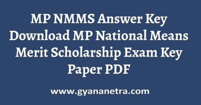 MP NMMS Answer Key Paper PDF