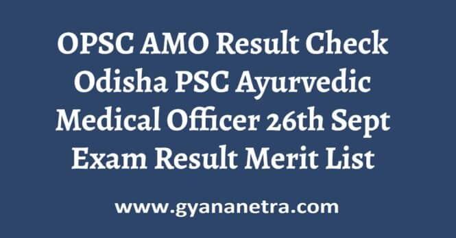 OPSC AMO Result Merit List