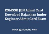 RSMSSB JEN Admit Card Exam Date
