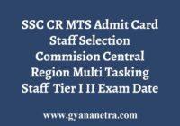 SSC CR MTS Tier I II Admit Card