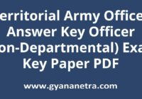 Territorial Army Officer Answer Key