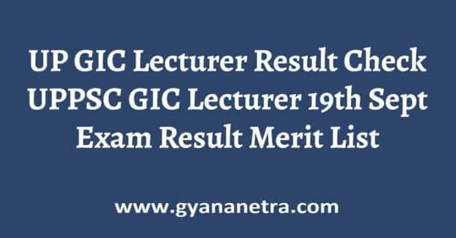 UP GIC Lecturer Result
