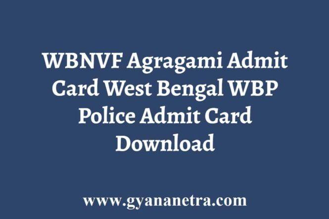 WBNVF Agragami Admit Card
