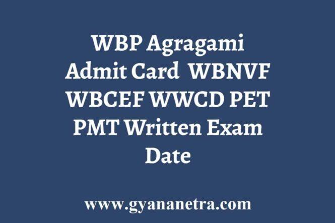 WBP Agragami Admit Card