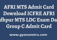 AFRI MTS Admit Card Group C Exam Date