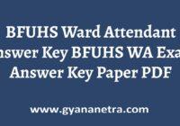 BFUHS Ward Attendant Answer Key PDF