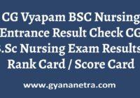 CG Vyapam BSC Nursing Entrance Result