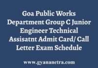 Goa PWD Admit Card