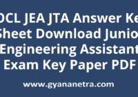 IOCL JEA JTA Answer Key Paper PDF