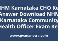 NHM Karnataka CHO Key Answer Sheet PDF