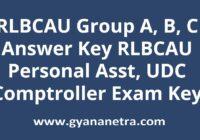 RLBCAU Answer Key Paper PDF