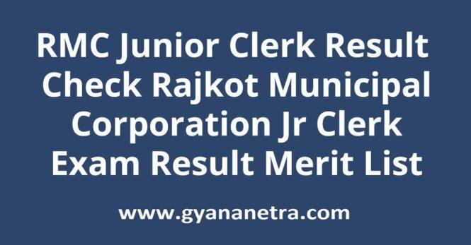 RMC Junior Clerk Result Merit List