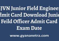 SJVN Junior Field Engineer Admit Card Exam Date