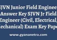 SJVN Junior Field Engineer Answer Key PDF