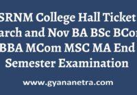 SRNM College Hall Ticket Exam Date